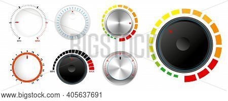 Set Of Plastic Volume Knob Or Realistic Metallic Control Knob Or Round Dial Regulator Knob Concept.