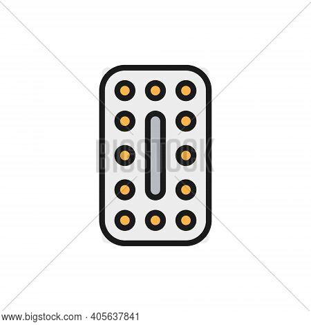 Oral Contraceptives, Hormonal Pills, Contraceptive Tablets Flat Color Line Icon.