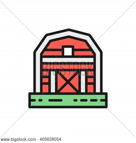 Farm Barn, Greenhouse, Countryside Color Line Icon. Isolated On White Background