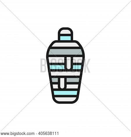 Ancient Egyptian Mummy Flat Color Line Icon. Isolated On White Background
