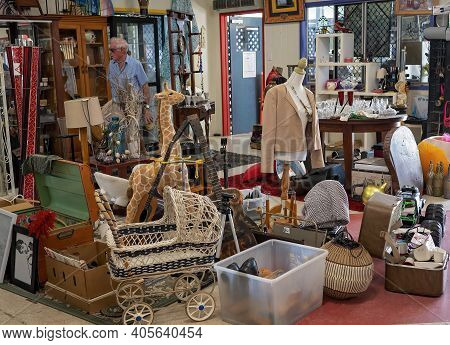 Mackay, Queensland, Australia - January 2021: Assorted Items For Sale At The Local Tip Shop