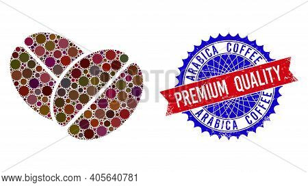 Cacao Beans Vector Mosaic Of Sharp Rosettes And Arabica Coffee Premium Quality Dirty Stamp Seal. Bic