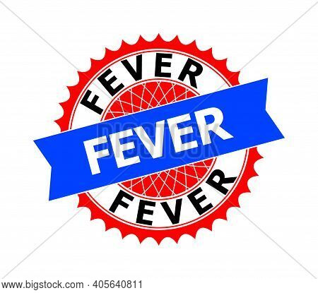 Vector Fever Bicolor Template For Rubber Imitations With Clean Surface. Flat Clean Seal Stamp With F