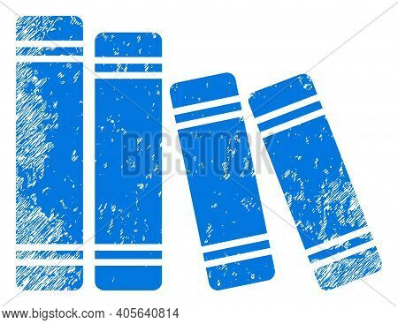 Books Icon With Scratched Style. Isolated Vector Books Icon Image With Scratched Rubber Texture On A