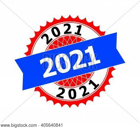 Vector 2021 Bicolor Template For Rubber Imitations With Clean Surface. Flat Clean Stamp With 2021 Ca