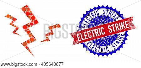 Crack Strikes Vector Collage Of Sharp Rosettes And Electric Strike Unclean Stamp. Bicolor Electric S