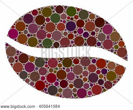 Coffee Bean Vector Composition Of Round Dots In Different Sizes And Color Tints. Round Dots Are Grou