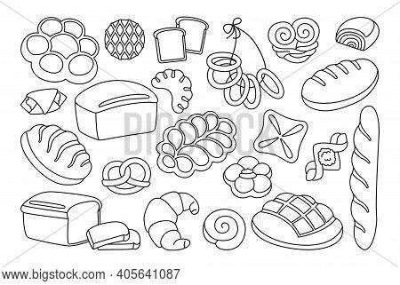 Bread Cartoon Line Icon Set Grain Bakery Vector
