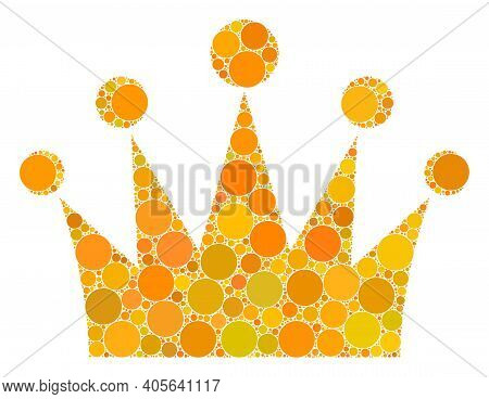 Crown Vector Composition Of Round Dots In Variable Sizes And Color Shades. Dots Are Combined Into Cr