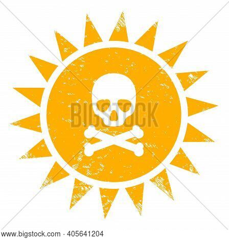 Death Sun Radiation Icon With Scratched Effect. Isolated Vector Death Sun Radiation Icon Image With