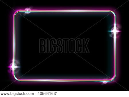 Neon Frame Background. Colorful Neon Shiny Glowing Vintage Frame Isolated Or Black Background. Multi