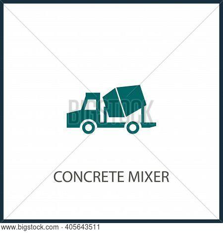 Concrete Mixer Truck Simple Icon. Build, Construction Vector Icon