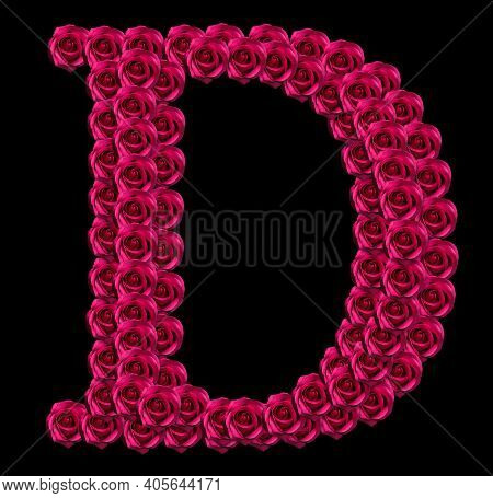 Romantic Concept Image Of A Capital Letter D Made Of Red Roses. Isolated On Black Background. Design