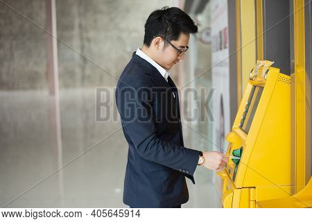 Business Man Withdraw The Money At Atm, Business Money Concept