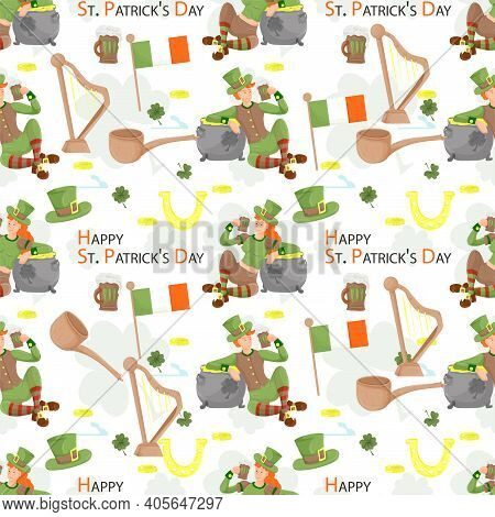 Seamless Background For The Design Design, On The Theme Of The St. Patricks Day Holiday, A Girl And