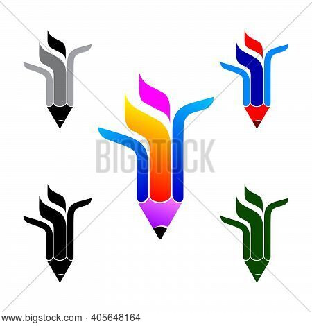 Three Color Vertical Abstract Graphic Creative Pencil Logo Template, Vector Illustration Isolated On