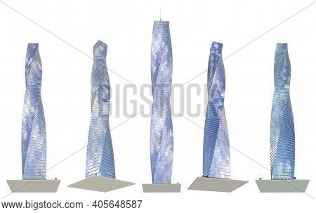 5 Different Angles Views Renders Of Fictional Design Skyscrapers With Spiral Construction With Cloud