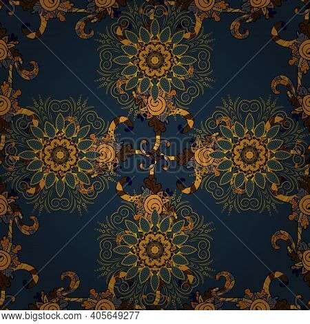 Beautiful Fabric Pattern. Vector Watercolour Floral Pattern, Delicate Flowers, Orange, Yellow And Bl