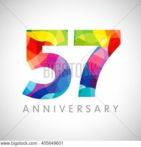 57th Anniversary Numbers. 57 Years Old Logotype. Bright Congrats. Isolated Abstract Graphic Design T