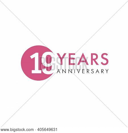 19 Th Anniversary Numbers. 19 Years Old Creative Congrats. Cute Congratulation Concept. Isolated Abs