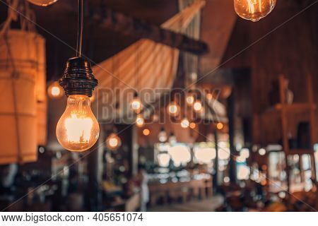 Lighting Decoration In Rustic Restaurant. Asian Vintage Restaurant Interior