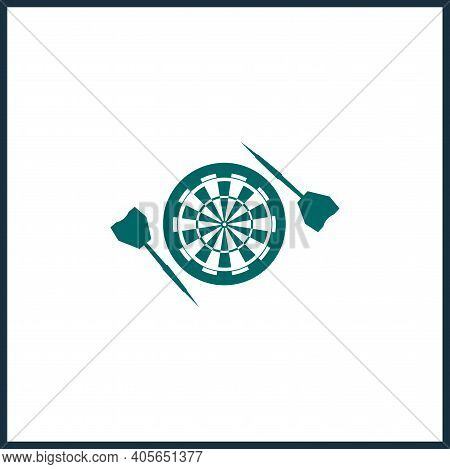 Target Icon. Dart Board. Archery Board. Dartboard Vector Icon, Dart Simple Isolated Icon