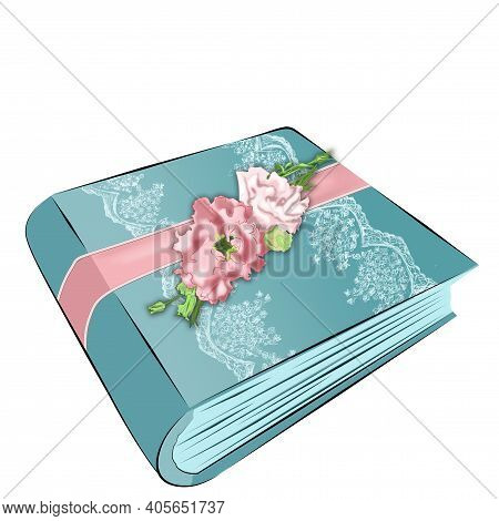Book Album Of Blue Color On A White Isolated Background With Delicate Pink Flowers And Satin White R