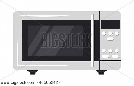 Microwave Oven Icon. Front View Of Kitchen Appliances. Vector Flat Colour Illustration Isolated On W