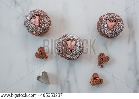 Chocolate Cupcakes Decorated With Sugar Hearts For Valentines Day