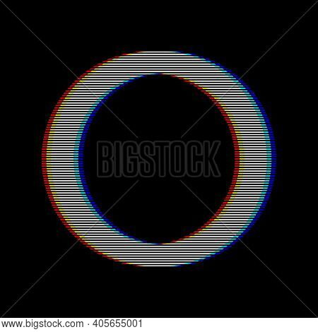 Vhs Glitch Circle In Retro Style. Geometry Shape With Distortion Effect. Good For Design Promo Elect