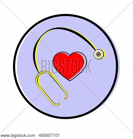 Stethoscope And Heart. Stethoscope And Heart Icon On A White Background.