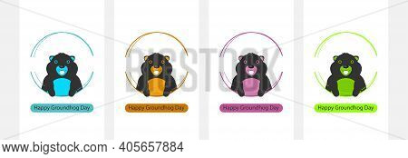 Groundhog Day, Logo In Different Colors On A Light Background. Invitation To The Groundhog Day.