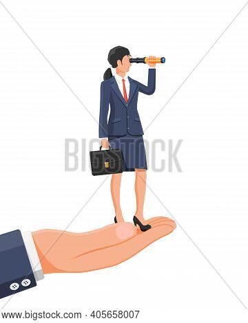 Businesswoman With Briefcase On Hand Looking For Opportunities In Spyglass. Business Woman With Tele