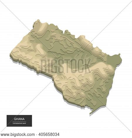 Ghana Map - 3d Digital High-altitude Topographic Map. 3d Vector Illustration. Colored Relief, Rugged