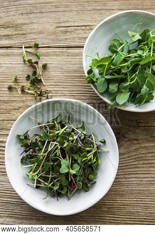 Micro Greens In A Bowls On A Old Wooden Background, Micro Green, Healthy Food Concept