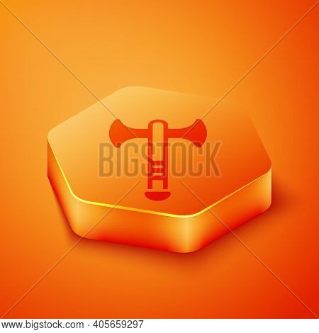 Isometric War Axe Icon Isolated On Orange Background. Battle Axe, Executioner Axe. Medieval Weapon.