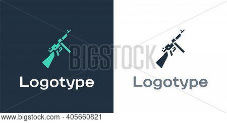 Logotype Thompson Tommy Submachine Gun Icon Isolated On White Background. American Submachine Gun. L