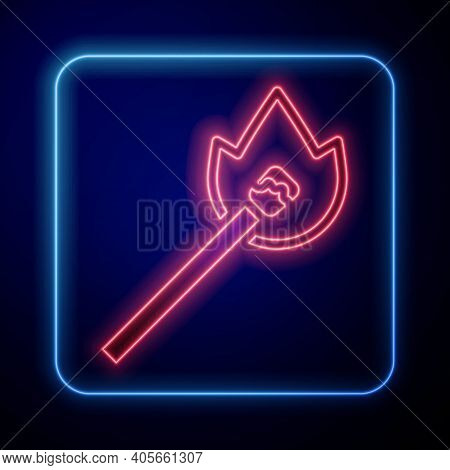 Glowing Neon Burning Match With Fire Icon Isolated On Blue Background. Match With Fire. Matches Sign