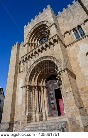 Coimbra, Portugal - Summer 2019: Old Cathedral (se Velha) Of Coimbra, Portugal.
