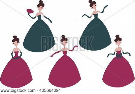 Vector Set With Lady Cartoon Character. Ladies In Colorful Dresses And Gloves In Different Poses. Wo