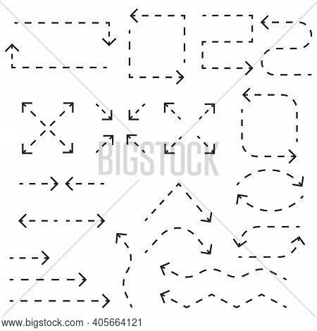 Dotted Arrow Lines. Line Drawing. Low Polygon. Future Technology. Low Poly Wireframe. Arrow Vector C