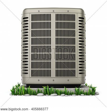 Front View Of Heating And Air Conditioner Unit On The Stand - 3d Illustration