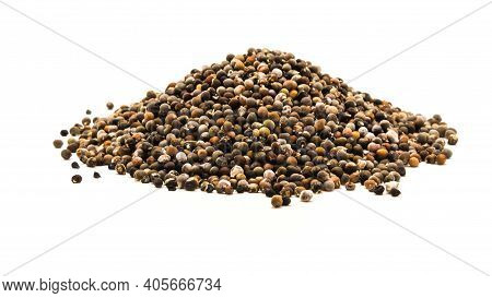 Top View Big Pile Of Okra Or Lady Fingers, Abelmoschus Esculentus Seeds Isolated On White Background