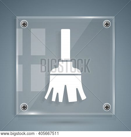 White Feather Broom For Cleaning Icon Isolated On Grey Background. Feather Duster. Square Glass Pane