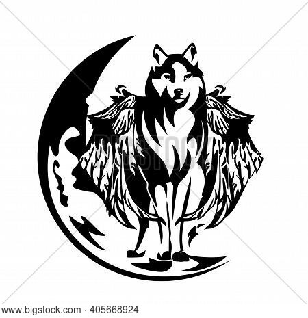 Black And White Vector Outline Of Standing Mythical Winged Wolf Simuran And Crescent Moon