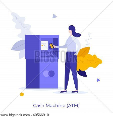 Woman Inserting Card Into Atm Slot. Concept Of Automated Teller Machine, Financial Transaction, Bank