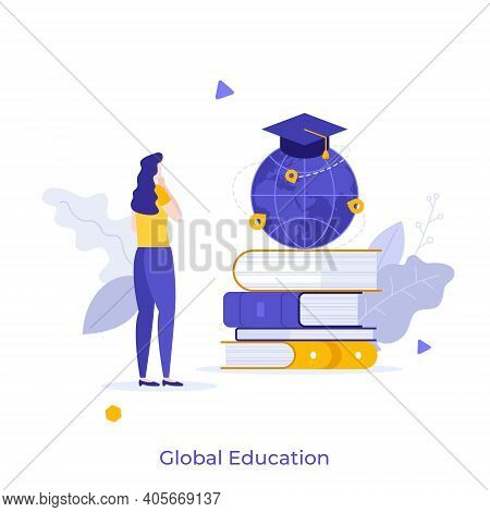 Woman Standing In Front Of Pile Of Books And Globe With Graduation Cap. Concept Of Global Education,
