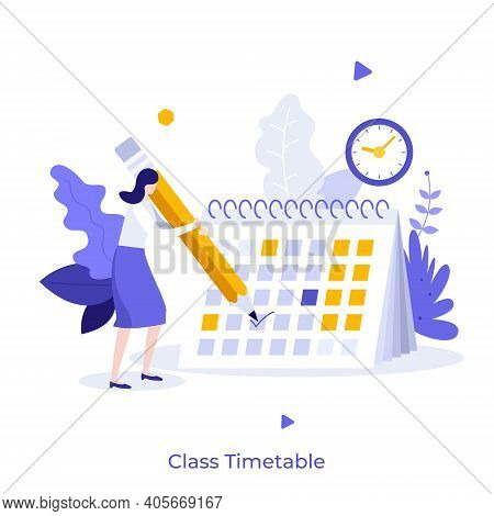 Girl Making Notes In Calendar Or Planner. Concept Of Class Timetable, Education Plan, Effective Stud