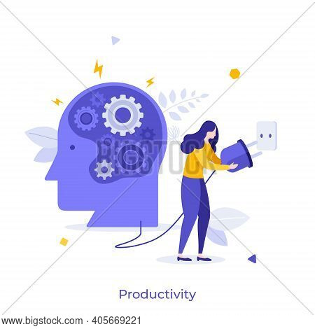Human Head With Gear Wheels Inside And Woman Putting Power Plug Into Socket. Concept Of Productivity