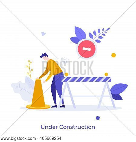 Man With Traffic Cone, Road Safety Barrier. Concept Of Website Under Construction, Error 404, Restri